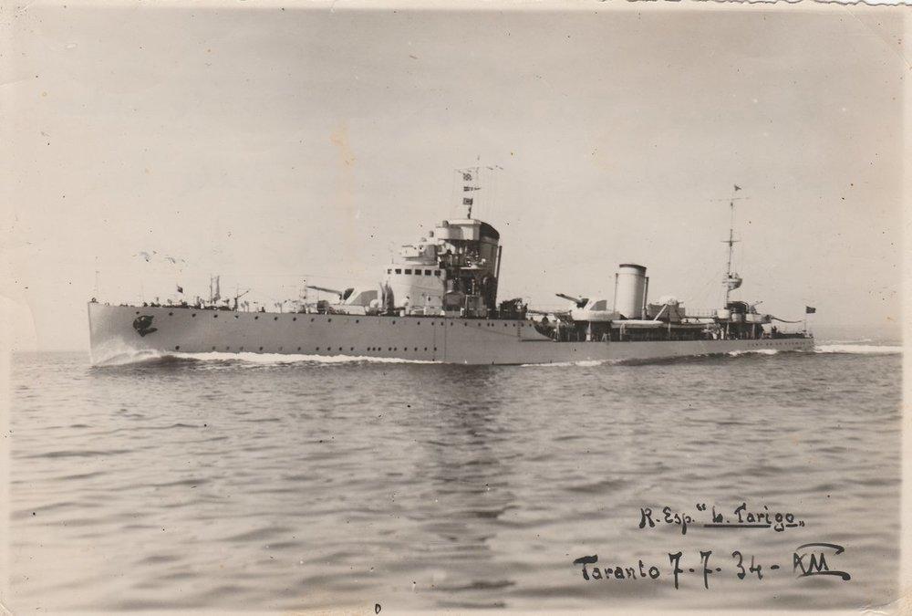 Nave Regio Esploratore Tarigo taranto 07-07-1934 Fronte.jpg