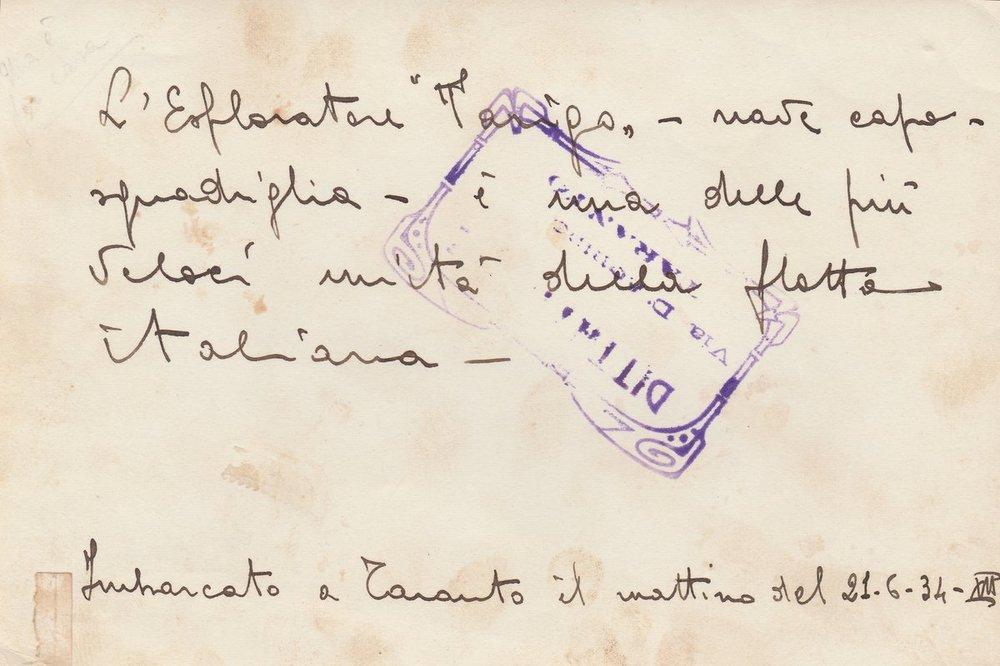 Nave Regio Esploratore Tarigo taranto 07-07-1934 Retro.jpg