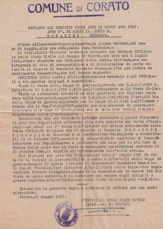 1947-05-22 Estratto Registro Atti Di Morte Corato Fronte.jpg