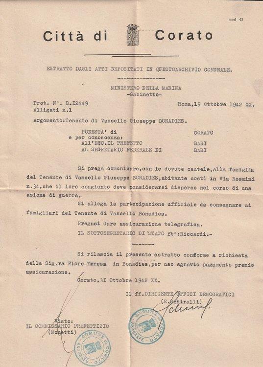 1942-10-31 Partecipazione Comune Corato.jpg