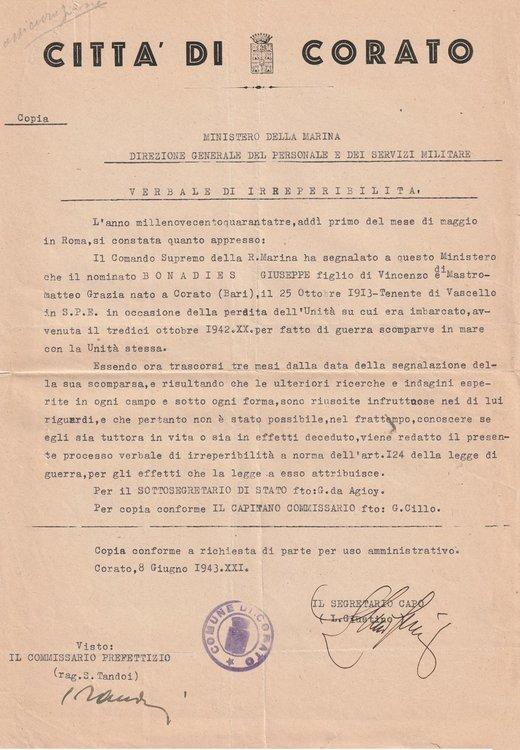 1943-06-08 Verbale Irreperibolità Corato.jpg